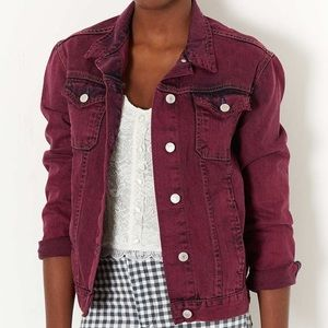 Topshop Moto Maroon Denim Jacket